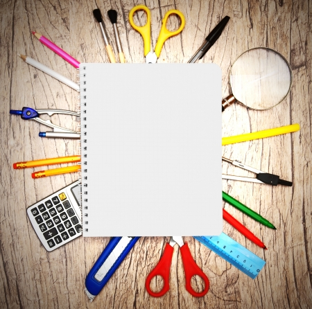 rubber sheet: School accessories on wooden background