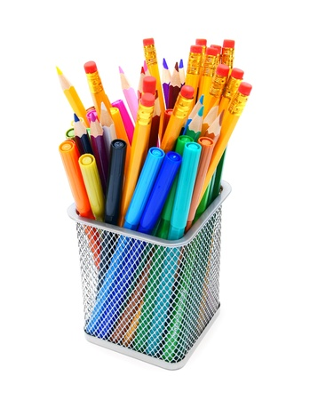 Multi - coloured pencils in basket  photo
