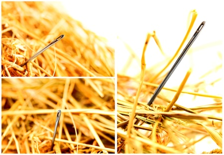 Needle in a haystack set. photo