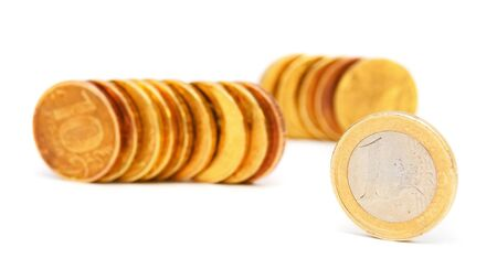 Gold coins on a white background  Stock Photo - 17233093