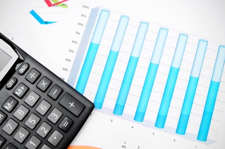 The calculator and graphs Stock Photo - 17237003