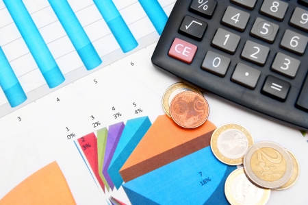 The calculator and coins  On financial graphs  Stock Photo - 17237047