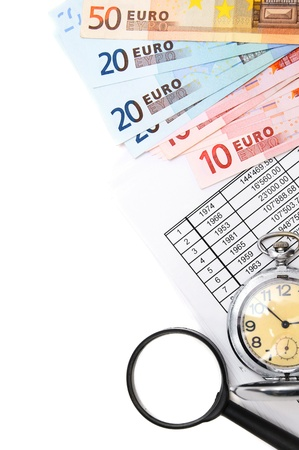 Money  euro , magnifier, documents and watch Stock Photo - 17236929