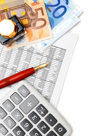 The calculator, pen, ink and money on documents Stock Photo - 17237085