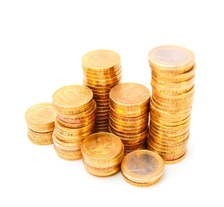 Heap of gold coins. On a white background. Stock Photo - 17233175