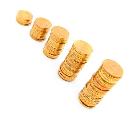 The diagramme from gold coins. On a white background. Stock Photo - 17233100
