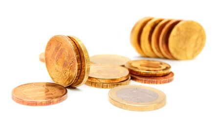 Gold coins. Money. On a white background. Stock Photo - 17233240