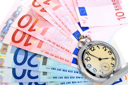 Watch on banknotes (euro). Stock Photo - 17237046