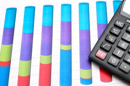 Calculator on graphs. Stock Photo - 17237044