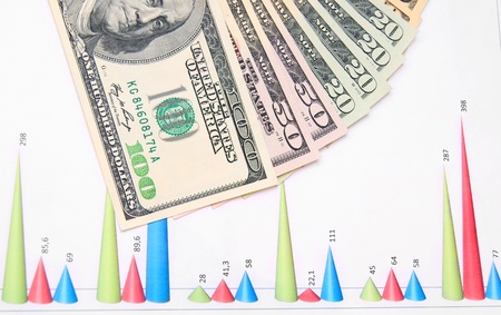 Banknotes on graphs. Stock Photo - 17237102