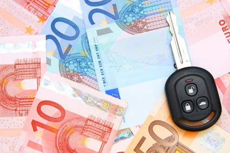Keys from car on euro banknotes. Stock Photo - 17237105