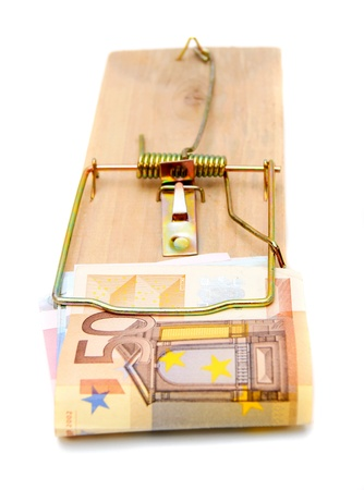 Mousetrap with a banknote  50 euros   photo