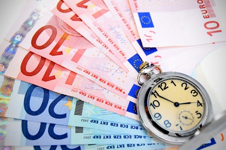 Watch on banknotes  euro   photo