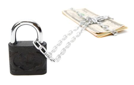 Money, chain and the lock. On a white background. photo