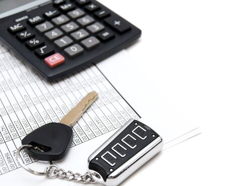 Calculator, keys from the car and documents.