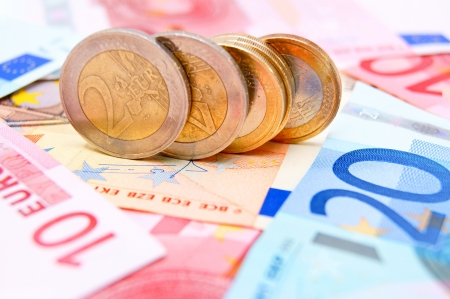 Coins for euro banknotes. Stock Photo - 17234343