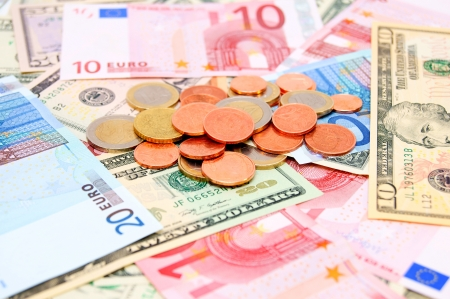 Coins and banknotes (euro). Stock Photo - 17236944