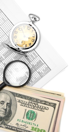 Watch, magnifier, documents and roll of money. Stock Photo - 17224626