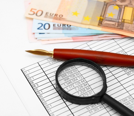 Documents, money, pen and a magnifier. Stock Photo - 17213541