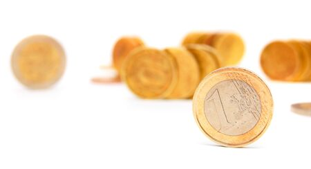 Gold coins on a white background. Stock Photo - 17213195