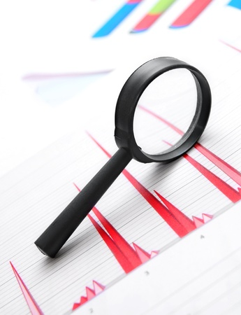 Magnifier on graphs  Stock Photo - 17213490