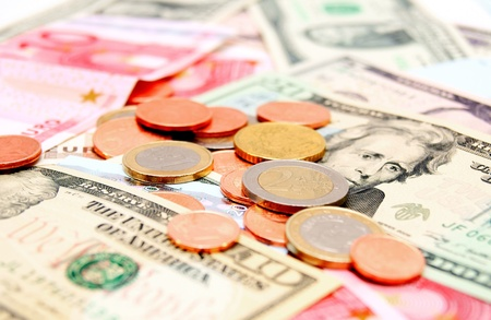 Coins on denominations  euro and dollars   photo