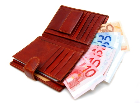Money  euro  in a purse  Stock Photo