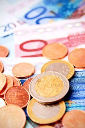 Coins for euro banknotes  photo