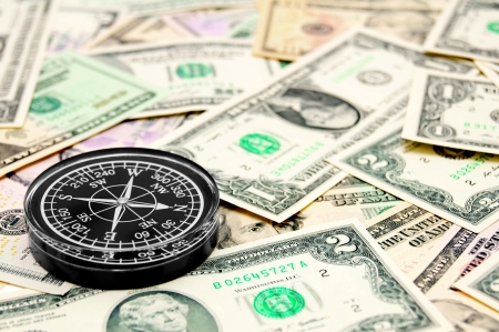 compass on the dollars  Stock Photo