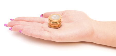 Hand and gold coins  On white  photo
