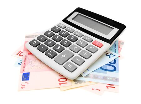 Calculator and money on white  Stock Photo