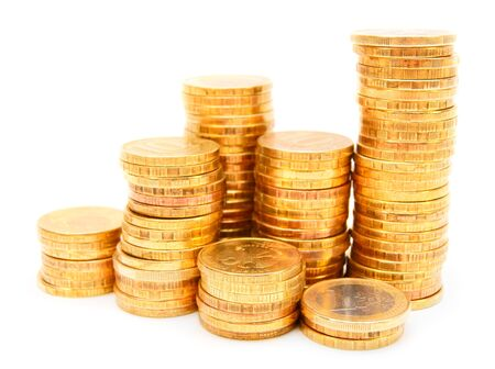 Heap of gold coins  On a white background Stock Photo - 17217487