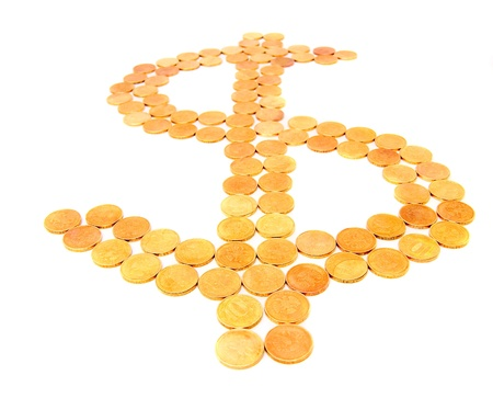 Dollar sign from gold coins Stock Photo - 17217422