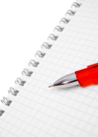 Red pen on the notebook Stock Photo - 17217530