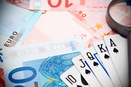 Poker, magnifier for euro banknotes  photo