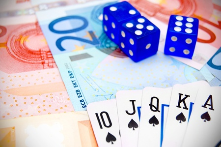 Game cards, dices for euro banknotes  photo