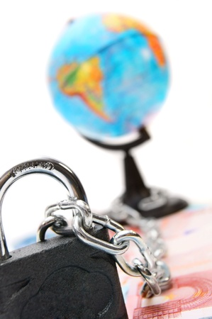 Lock, chain and the globe for euro banknotes  photo