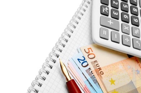 Pen, the calculator and banknote euro Stock Photo - 17217606