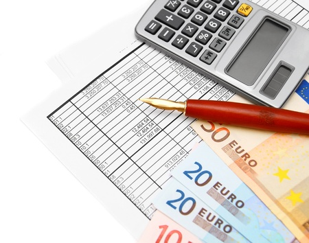 Euros of a banknote, the calculator, pen and documents Stock Photo - 17217653