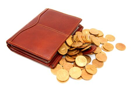 Purses and gold coins  On a white background  photo