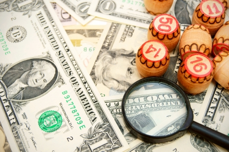 Magnifiers and lotto on dollars  photo