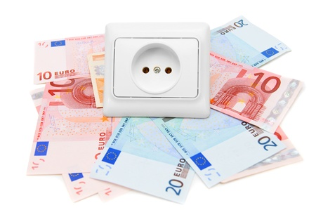 Electric sockets and banknote euro  On a white background  photo