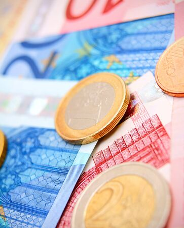 Coins and banknote euro  photo
