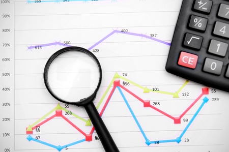 Magnifier and the calculator on graphs  Stock Photo