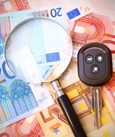 Magnifier and key from the car for euro banknotes Stock Photo - 17221551
