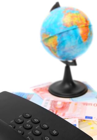 Phone, globe for euro banknotes  Stock Photo - 17220495