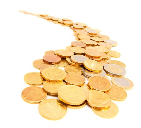 Gold coins in the form of the river  On a white background Stock Photo - 17220406