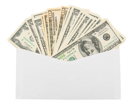 Money in an envelope  On a white background  Stock Photo