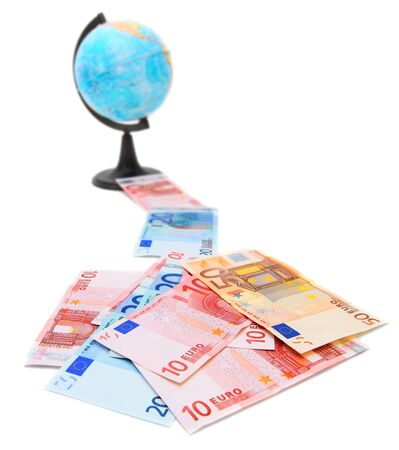 Euros of a banknote and globe  On a white background  photo