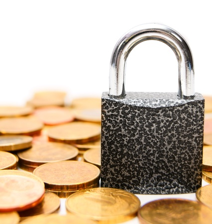 Lock on gold coins  Stock Photo - 17220531